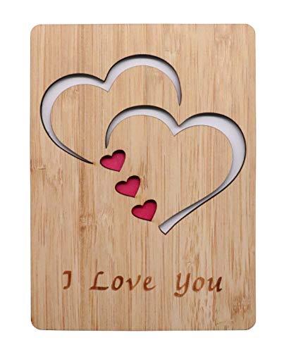 "Tarjeta de felicitación de madera de bambú real con texto""I Love You"", para cualquier ocasión, para decir feliz día de San Valentín, aniversario, regalos para esposa, él o ella, o simplemente porque"