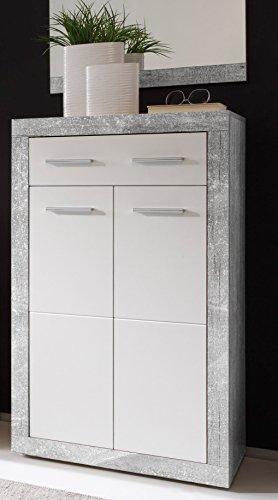 AVANTI TRENDSTORE - Solaika - Arredamento da Ingresso, in Laminato di Grigio Cemento d'imitazione e Colore Bianco Lucido (Scarpiera)