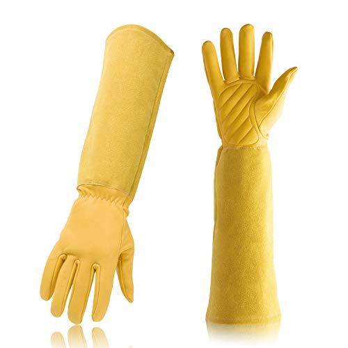 Dewanxin Imkerhandschuhe Bienenzucht Handschuhe aus Ziegenleder Gartenhandschuhe mit belüftetem Langen Ärmel für den Anfänger Beekeeper, Männer, Frauen, Bienen (45x15cm) (M, Gelb)