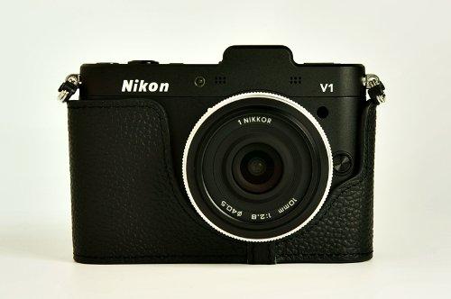 ニコン Nikon 1 V1用本革カメラケース&バッテリーケース付ストラップ 各種カラー (カメラケース&ストラップ&バッテリーケース, ブラック)