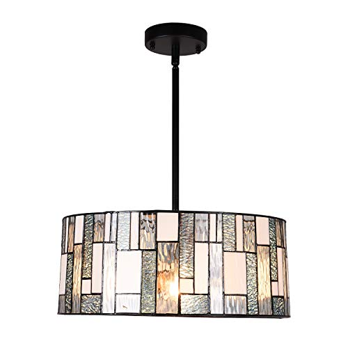 Artzone 2-Light Tiffany Style Pendant Lighting 16 inch Wide Contemporary Stained Glass Hanging Light Fixtures Chandelier Kitchen Lighting for Dining Room