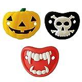 Tomaibaby 3 Piezas Chupetes para Bebés Diseño de Elementos de Halloween Calabaza Esqueleto Vampiros Colmillos en Forma de Chupete para Bebés Pequeños Bebés