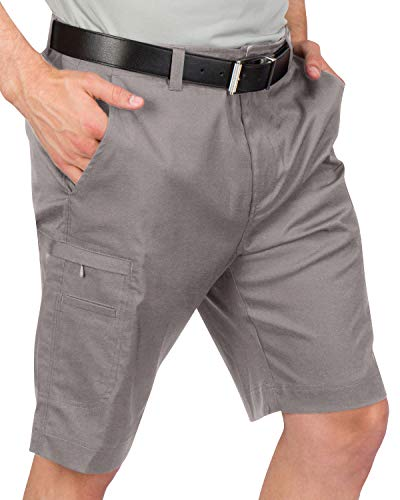 Dry Fit Cargo Golf Shorts for Men - Lightweight, Moisture Wicking Casual Short - 10.5 Inch Inseam Charcoal