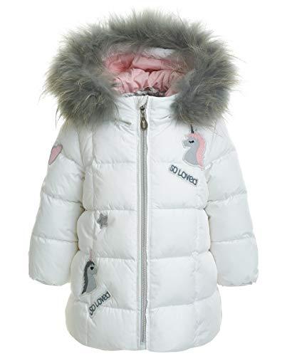 GULLIVER Baby Mantel Weiss Wintermantel Lang mit Kapuze und Zip für Winter mit Patch 74 80 86 92 cm