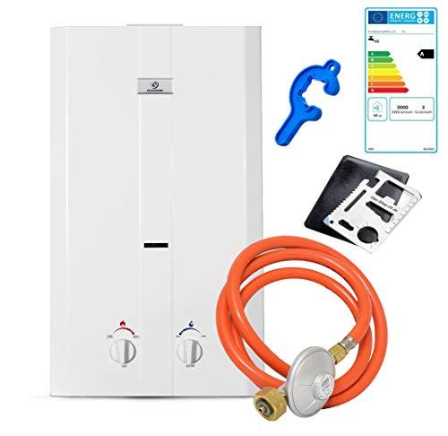 Warmwasser Propan Gas Durchlauferhitzer Boiler Therme Eccotemp 50 mbar/Outdoor Camping L10 (Gastherme) + ZUBEHÖR - für den deutschen Markt!!!