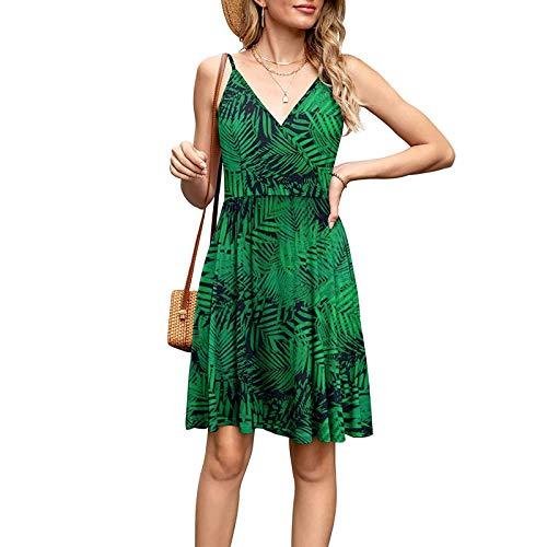 winwintom Maxi Dresses for Women Tie Dye Sundresses for Womens Women Flower and Leaf Leopard Print V-Neck Sleeveless Suspender Dress Multicolor 02 S