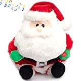 HollyHOME Animated Santa Claus Christmas Plush Toy Musical Santa Plush with LED Lights Xmas Gift Holiday Musical Decoration 14 Inch