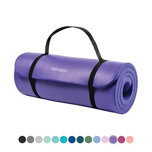 Retrospec Solana Yoga Mat 1' Thick w/Nylon Strap for Men & Women - Non Slip Excercise Mat for Yoga, Ultra Violet, 1 inch