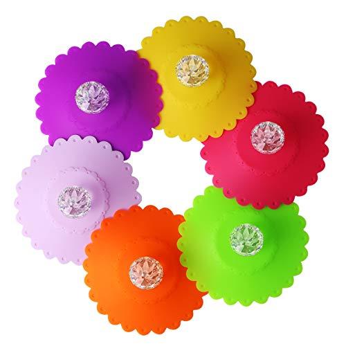 OUNONA 6 Stucke 10,5 cm Blume Tasse Deckel Staubdicht Becher Abdeckung Silikon Getrnk Deckel (zufllige Farbe)