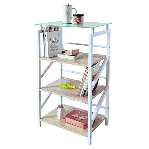 Librerie YANFEI Legno Moderno Minimalista in Acciaio, Piani con scaffale a Quattro Livelli, Nero, Bianco (Colore : Bianca)