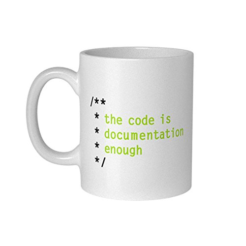 getDigital The Code is Documentation Enough Kaffeebecher-Perfekte Kaffeetasse für Programmierer, IT Admins, Informatiker und Computer Geeks-300 ml, Keramik, Weiß, 10 x 10 x 10 cm
