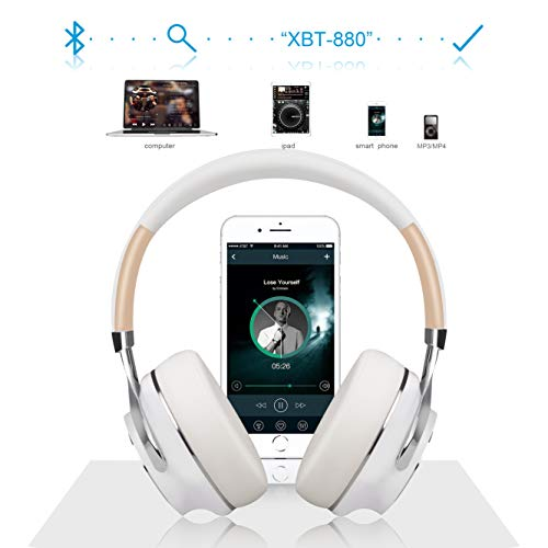 Bluetooth Headphones, Riwbox XBT-880 Wireless Bluetooth Headphones Over Ear with Microphone and Volume Control Wireless and Wired Foldable Headset for iPhone/iPad/PC/Cell Phones/TV (White
