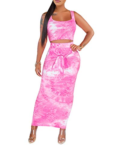 Women's 2 Piece Outfits Sexy Skirt Sets Tie Dye Bodycon Crop Tops Summer Long Pencil Skirt