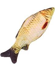 Yosoo Juguete favorito para mascotas con forma de pez simulado lleno de sabor a menta y relleno de felpa de algodón para roer diversión molar (tamaño: 20 cm)