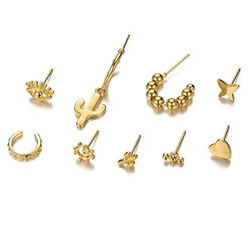 hfior Pendientes, Golden Bee Star Moon Ojo de Sol Pequeño Conjunto de Pendientes, Metal,
