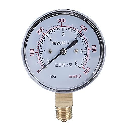 YINGGEXU Medidor de presión de Elecall YE-60 Air Diafragma Medidor de presión 0~6KPA Phosphor Bronce Caja de película Medidor de presión Medidor de presión Positiva