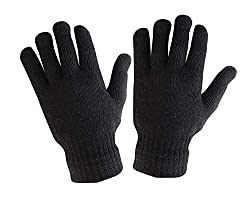Krystle Mens Woollen Gloves (Black, Free size)
