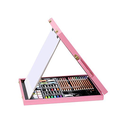 Chengzuoqing Malkasten für Kinder 40X28.4X5CM Bilderrahmen aus Holz Malerei Pinsel Set Crayon Aquarell-Stift Praktische Malerei-Kunst Neujahr Geburtstag (Color : Pink)