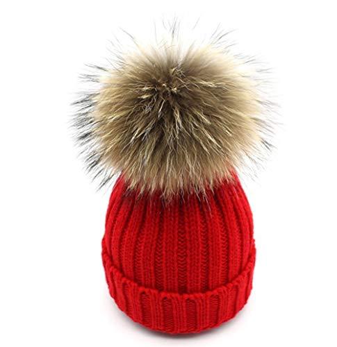 xwanli Damen Strick-Mütze Warm Mütze Echtfellbommel Pudelmütze Winter-Mütze Bommelmütze Pelzbommel Waschbär Raccoon Pelz WeihnachtenGeschenk