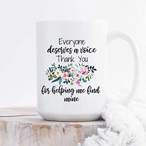Taza de café de cerámica blanca de 11 oz, regalo del patólogo del habla y el lenguaje, todos merecen una voz