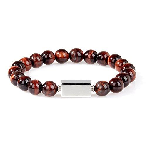 URBANSTYLES - Perlenarmband Schmuck - Armband Buddha Energiearmband Herren Universal - Shamballa 8 mm Naturstein Perlen Halbedelsteine - Rechteckige Logo-Perle - Braun ca. 20 cm Tiger Auge