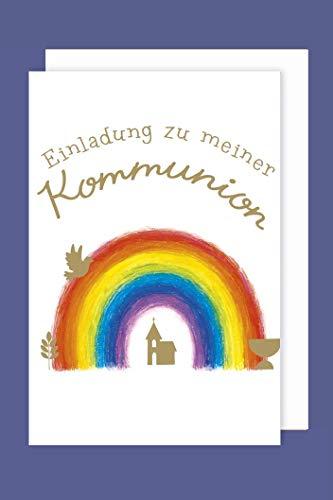 AvanCarte Kommunion Einladungen Karte 5er Set Regenbogen Kirche Grußkarten C6