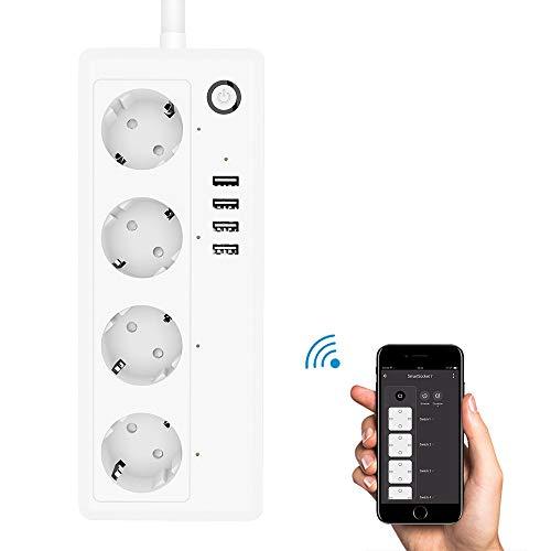 Fornorm EU Smart Home, WLAN stopcontact, compatibel met Alexa/Google/IFTTT, app-afstandsbediening/spraakbediening, tijdschema en timer Smart stekkerdoos