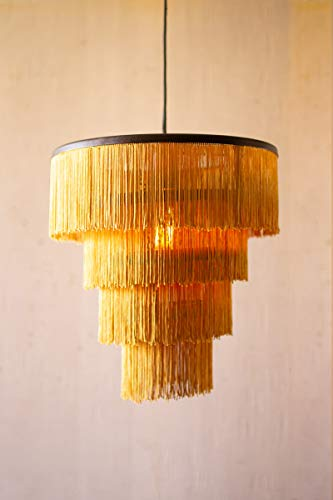 KALALOU NNL2521 Gold Fringe Tiered Pendant Light