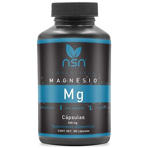 Magnesio | Citrato, Oxido, Gluconato | Suave con el Estómago | 550 mg por Cápsula | Con Inulina y Prebióticos alta Absorción | 100 Cápsulas 100 días