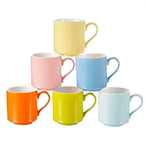 Panbado Bunte Kaffeetassen aus Porzellan, 6 TLG. Set Tassen 370 ml, 4,75