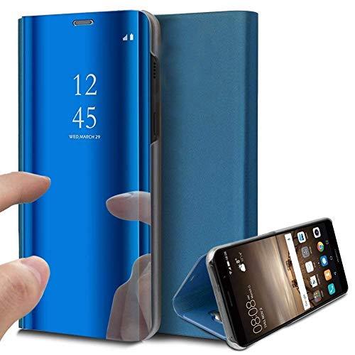 Uposao Kompatibel mit Handy Tasche LG V40 ThinQ Handy Tasche Spiegel Handyhülle Mirror Hülle Flip Schutzhülle Clear View Tasche Brieftasche Flip Cover Lederhülle Ledertasche,Blau