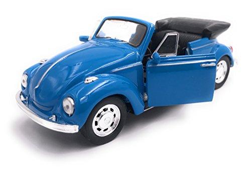 Welly Käfer Cabrio Modellauto Auto Lizenzprodukt 1:34-1:39 Blau OVP