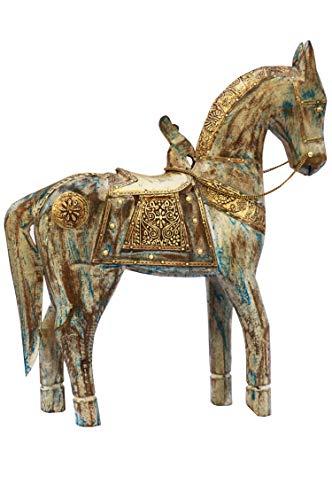 Kamer decoratieve figuren paard bont 38 cm groot van hout | XL vintage decoratieve figuren als tuindecoratie | Decoratieve figuur als tafeldecoratie op de gedekte tafel | Dierfiguren als kunstfiguren op het balkon of terras