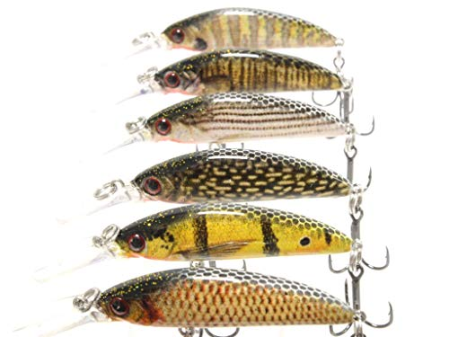 wLure Jerkbait Minnow Crankbait for Bass Fishing Bass Lure Fishing Lure (HM823KB, with Tackle Box)