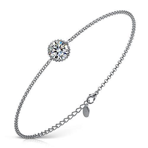 Armband-Damen, FANCI 925 Silber Armband Damen Armkette 1.45 Karat Zirkonia von Swarovski Charms Anhänger Geschenke für Frauen Geburtstagsgeschenk