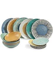 Villa d'Este Home Tivoli 2195378 Marea - Mesa de 18 piezas, porcelana + gres