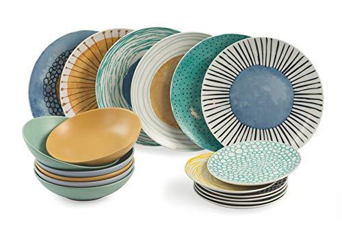 Villa d'Este Home Tivoli 2195378 Marea - Tabla de 18 piezas, porcelana + gres