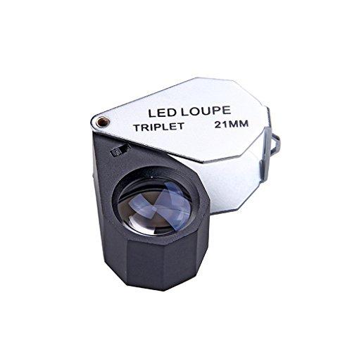 Unbekannt Mini Lupa Portable, Uso estupendo de la Lupa de la joyería de la Alta claridad para los Seniors Que leen y aprecian Artes de la joyería y Lupa de Las antigüedades con Las Luces del LED