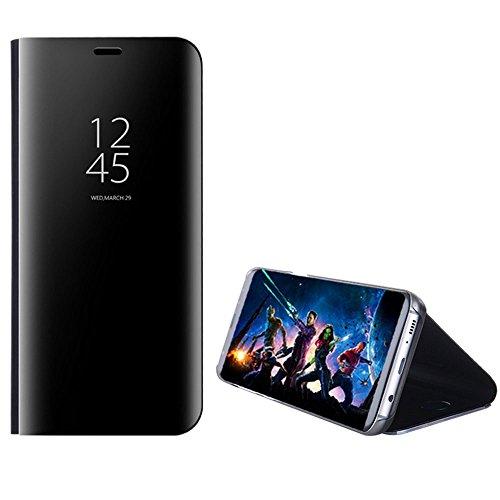 Capa de celular flip Hanbaili para Samsung Galaxy J7 Pro versão dos EUA 2017 capa inteligente e tela transparente com revestimento espelhado proteção total com design de suporte
