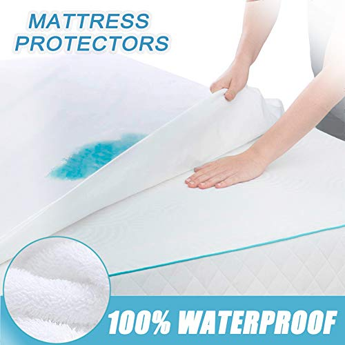 GEBIN Mattress Protector, Waterproof Breathable, Fitted Sheet, Blocks Dust Mites, Allergens, Smooth Soft Cotton Terry Cover. Hypoallergenic Cotton Vinyl Free Bed Cover, 30cm Deep. (90 x 200cm)