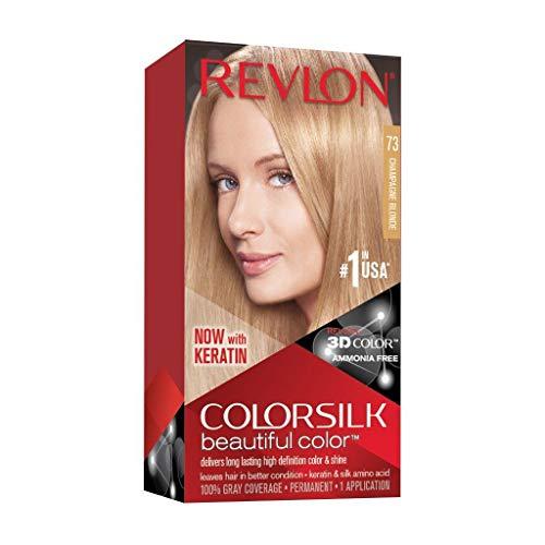 revlon champagnes REVLON Colorsilk Beautiful Color Permanent Hair Color with 3D Gel Technology & Keratin, 100% Gray Coverage Hair Dye, 73 Champagne Blonde