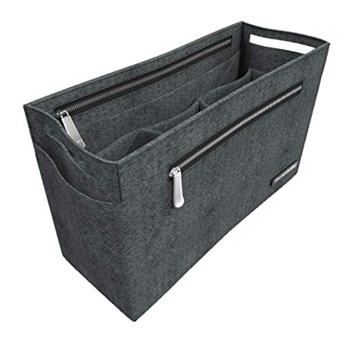 """Sternenfunke Hand-Taschenorganizer 30 cm groß aus Filz in grau mit 2 Reißverschluß-Fächern """"Bag in The Bag"""" (30 cm, groß)"""