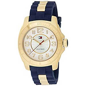 Tommy Hilfiger Women's 1781307 Casual Sport Gold-Plated Case and Links with Silicone Strap Watch