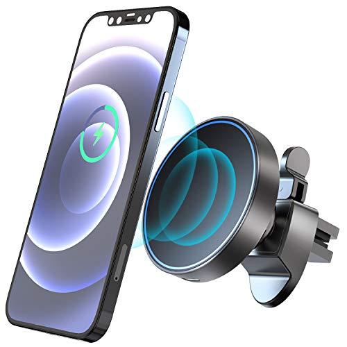 Hoidokly Magnetico Caricatore Wireless Auto 15W Ricarica Wireless Rapida Caricabatterie Senza Fili Supporto Cellulare Auto Wireless per iPhone 12/12 Pro/12 Mini/12 Pro Max - Nero