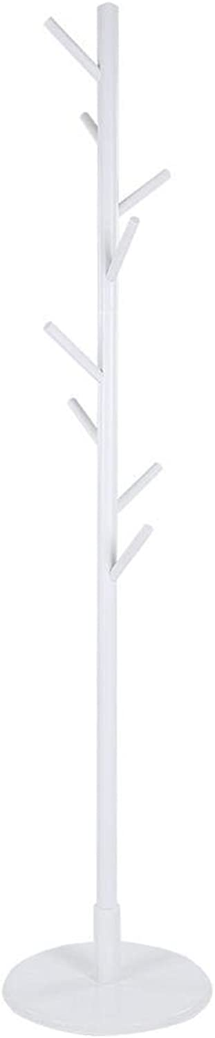 Assembled Wooden Coat Hat Stand Tree Jacket Cloth greenical Hanger Rack 8 Hooks ((White))