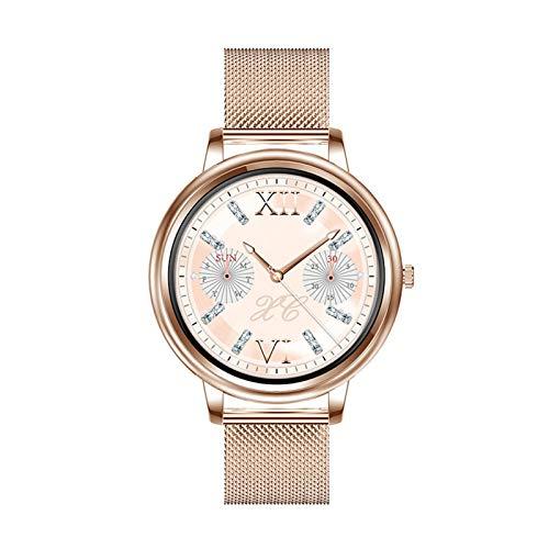 YNLRY Reloj inteligente estilo de control táctil completo pantalla redonda moda mujer smartwatch señora salud seguimiento reloj para iOS Android (color acero oro)