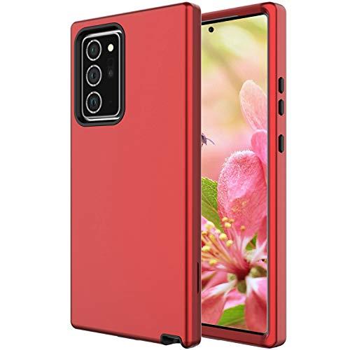 Shinyzone Hülle für Samsung Galaxy Note 20 Ultra,360 Grad Stoßfeste [Verstärkter Fallschutz] 3 in 1 Hybrid Harte PC Rückseite Weiche TPU Rahmen Silikon Innenschale Schutzhülle,Rot und Schwarz