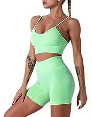 Vrouwen Naadloze Yoga Outfits 2 Stuk Workout Atletische Hoge Taille Running Shorts en Sport BH Sets Sportwear Gym Kleding