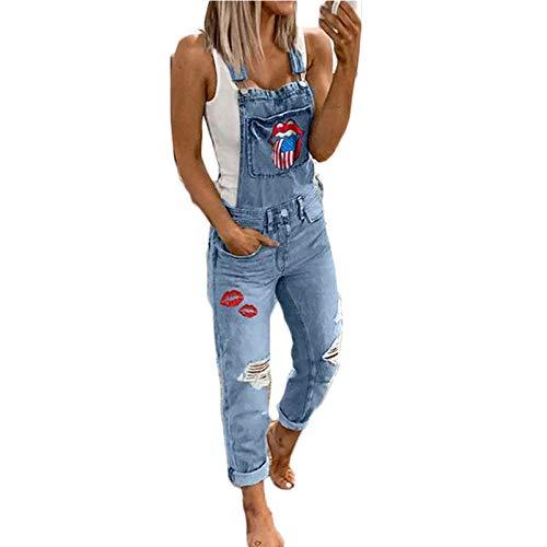 Hotexy Peto Vaquero para Mujer Mono Sin Mangas Vaquero con Estampado de Moda con Bolsillo Vaqueros Largos Casual pantalón Denim Largo Slim Salvajes Jeans de Mezclilla harén con Bolsillo Babero
