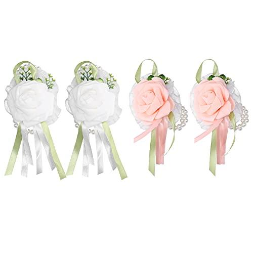RUIRUIY muñeca flor 2 uds boda muñeca ramillete innovadora dama de honor muñeca artificial flor perla pulsera(champán)